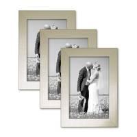 3er Set Bilderrahmen 10x15 cm Silber Modern Massivholz-Rahmen mit Glasscheibe inkl. Zubehör / Fotorahmen  – Bild 7
