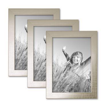 3er Set Bilderrahmen 13x18 cm Silber Modern Massivholz-Rahmen mit Glasscheibe inkl. Zubehör / Fotorahmen