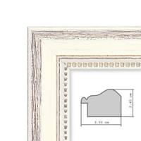 2er Set Bilderrahmen Shabby-Chic Landhaus-Stil Weiss 20x30 cm Massivholz mit Glasscheibe und Zubehör / Fotorahmen – Bild 2