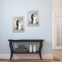 2er Set Bilderrahmen Shabby-Chic Landhaus-Stil Weiss 20x30 cm Massivholz mit Glasscheibe und Zubehör / Fotorahmen – Bild 3