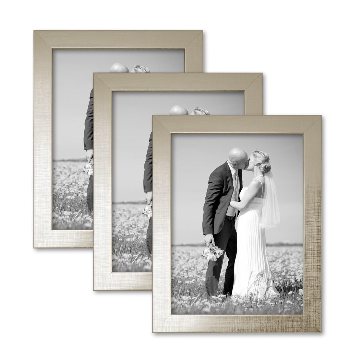 3er set bilderrahmen 15x20 cm silber modern massivholz rahmen mit glasscheibe inkl zubeh r. Black Bedroom Furniture Sets. Home Design Ideas