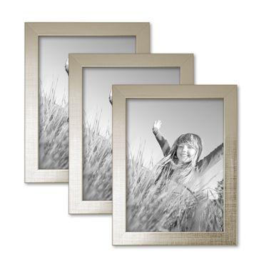 3er Set Bilderrahmen 18x24 cm Silber Modern Massivholz-Rahmen mit Glasscheibe inkl. Zubehör / Fotorahmen