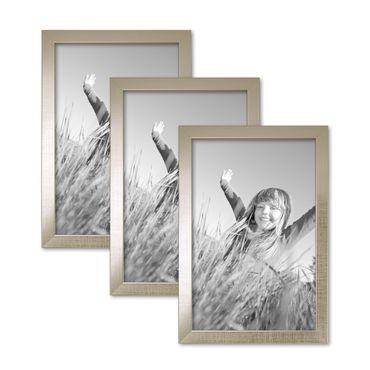3er Set Bilderrahmen 20x30 cm Silber Modern Massivholz-Rahmen mit Glasscheibe inkl. Zubehör / Fotorahmen