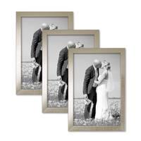 3er Set Bilderrahmen 20x30 cm Silber Modern Massivholz-Rahmen mit Glasscheibe inkl. Zubehör / Fotorahmen  – Bild 3