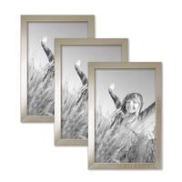 3er Set Bilderrahmen 21x30 cm / DIN A4 Silber Modern Massivholz-Rahmen mit Glasscheibe inkl. Zubehör / Fotorahmen