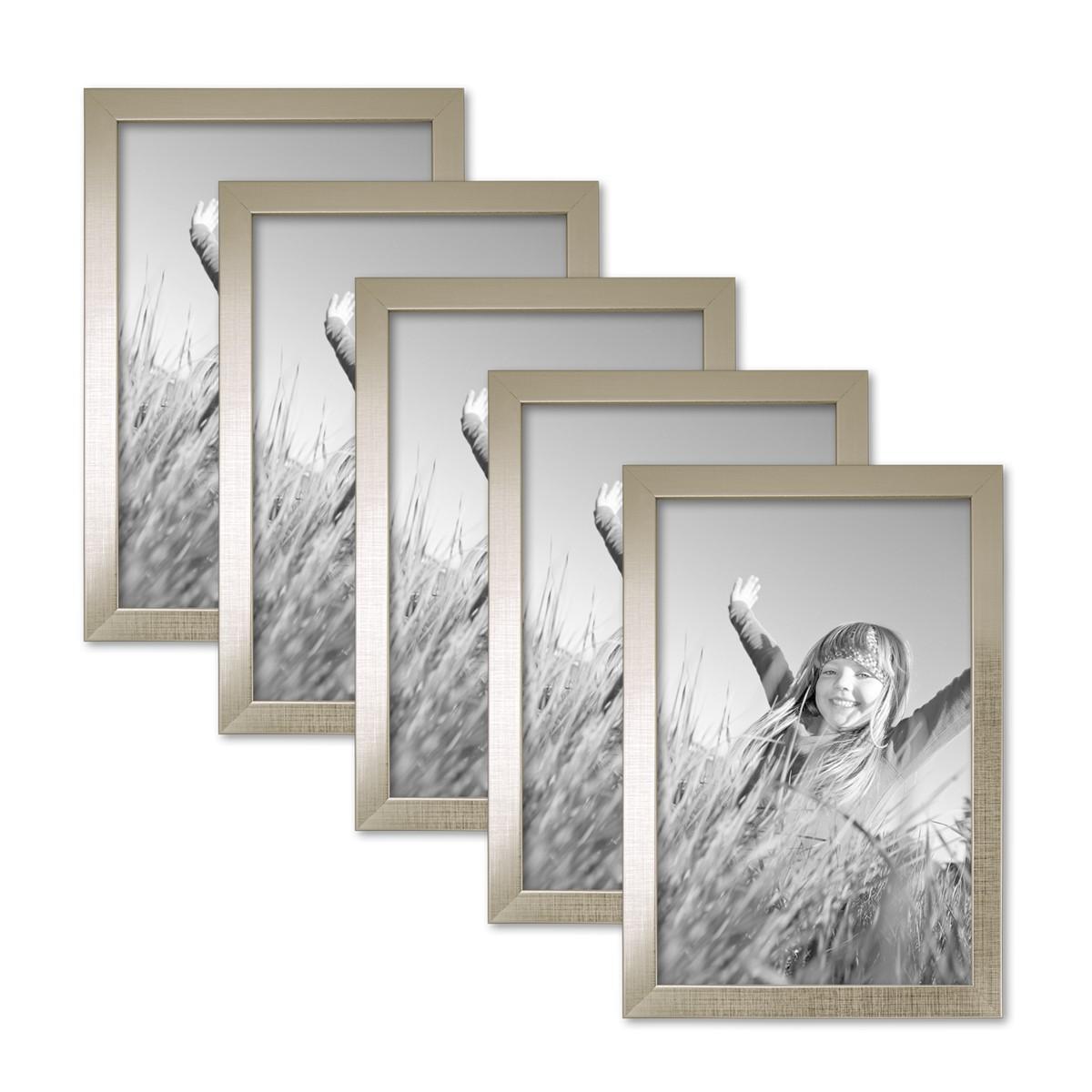 5er set bilderrahmen 21x30 cm din a4 silber modern massivholz rahmen mit glasscheibe inkl. Black Bedroom Furniture Sets. Home Design Ideas