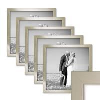 5er Bilderrahmen-Set 30x30 cm Silber Modern Massivholz