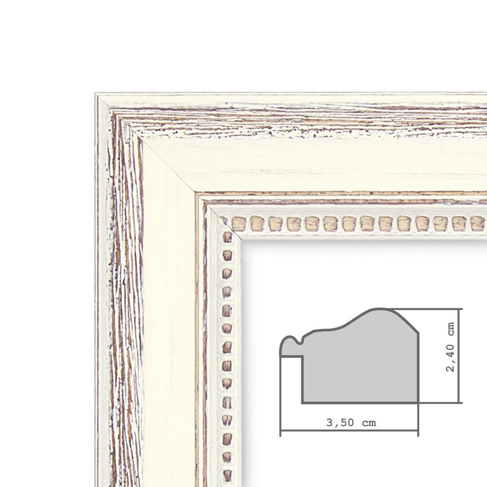 3er Bilderrahmen Set Shabby Chic Landhaus Stil Weiss 10x15 Cm