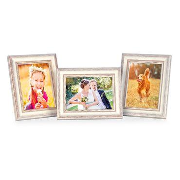 3er Set Bilderrahmen Shabby-Chic Landhaus-Stil Weiss 10x15 cm Massivholz mit Glasscheibe und Zubehör / Fotorahmen
