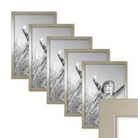 5er Set Bilderrahmen 30x45 cm Silber Modern Massivholz-Rahmen mit Glasscheibe inkl. Zubehör / Fotorahmen  – Bild 1