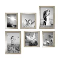 6er Set Bilderrahmen 15x20 20x20 und 20x30 cm Silber Modern Massivholz-Rahmen mit Glasscheibe inkl. Zubehör / Fotorahmen