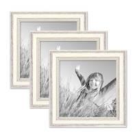 3er Set Bilderrahmen Shabby-Chic Landhaus-Stil Weiss 20x20 cm Massivholz mit Glasscheibe und Zubehör / Fotorahmen – Bild 1