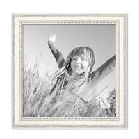 3er Set Bilderrahmen Shabby-Chic Landhaus-Stil Weiss 20x20 cm Massivholz mit Glasscheibe und Zubehör / Fotorahmen – Bild 3