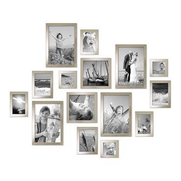 15er Set Bilderrahmen Modern Silber Massivholz 10x15 bis 20x30 cm inklusive Zubehör zur Gestaltung einer Collage / Bildergalerie