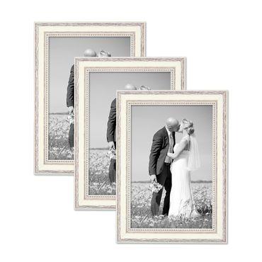 3er Set Bilderrahmen Shabby-Chic Landhaus-Stil Weiss 20x30 cm Massivholz mit Glasscheibe und Zubehör / Fotorahmen
