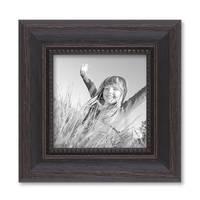 Bilderrahmen 10x10 cm Shabby-Chic Landhaus-Stil Dunkelbraun Massivholz mit Glasscheibe und Zubehör / Fotorahmen