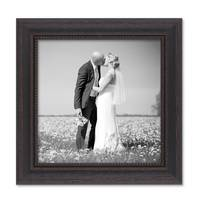 Bilderrahmen 20x20 cm Shabby-Chic Landhaus-Stil Dunkelbraun Massivholz mit Glasscheibe und Zubehör / Fotorahmen  – Bild 1