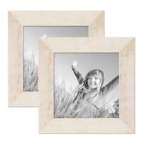 2er Bilderrahmen-Set 15x15 cm Strandhaus Rustikal Weiss Massivholz mit Glasscheibe inkl. Zubehör / Fotorahmen  – Bild 1