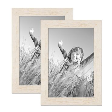 2er Bilderrahmen-Set 21x30 cm / DIN A4 Strandhaus Rustikal Weiss Massivholz mit Glasscheibe inkl. Zubehör / Fotorahmen