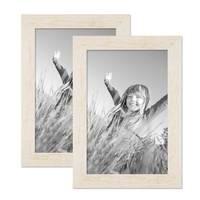 2er Bilderrahmen-Set 21x30 cm / DIN A4 Strandhaus Rustikal Weiss Massivholz mit Glasscheibe inkl. Zubehör / Fotorahmen  – Bild 1
