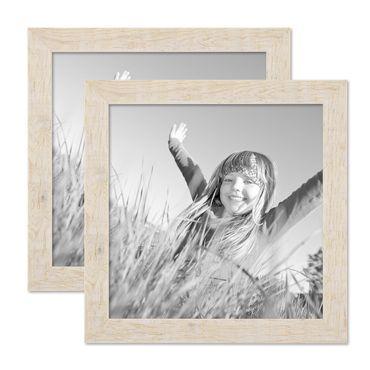 2er Bilderrahmen-Set 30x30 cm Strandhaus Rustikal Weiss Massivholz mit Glasscheibe inkl. Zubehör / Fotorahmen