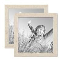 2er Bilderrahmen-Set 30x30 cm Strandhaus Rustikal Weiss Massivholz mit Glasscheibe inkl. Zubehör / Fotorahmen  – Bild 1