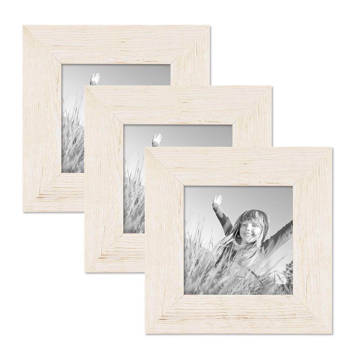 3er bilderrahmen set 10x10 cm strandhaus rustikal weiss massivholz mit glasscheibe inkl zubeh r. Black Bedroom Furniture Sets. Home Design Ideas