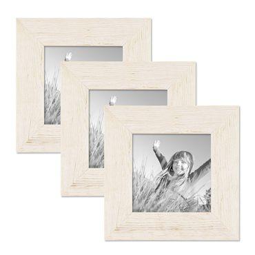 3er Bilderrahmen-Set 10x10 cm Strandhaus Rustikal Weiss Massivholz mit Glasscheibe inkl. Zubehör / Fotorahmen