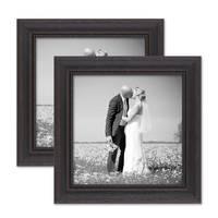 2er Set Bilderrahmen 20x20 cm Shabby-Chic Landhaus-Stil Dunkelbraun Massivholz mit Glasscheibe und Zubehör / Fotorahmen  – Bild 1