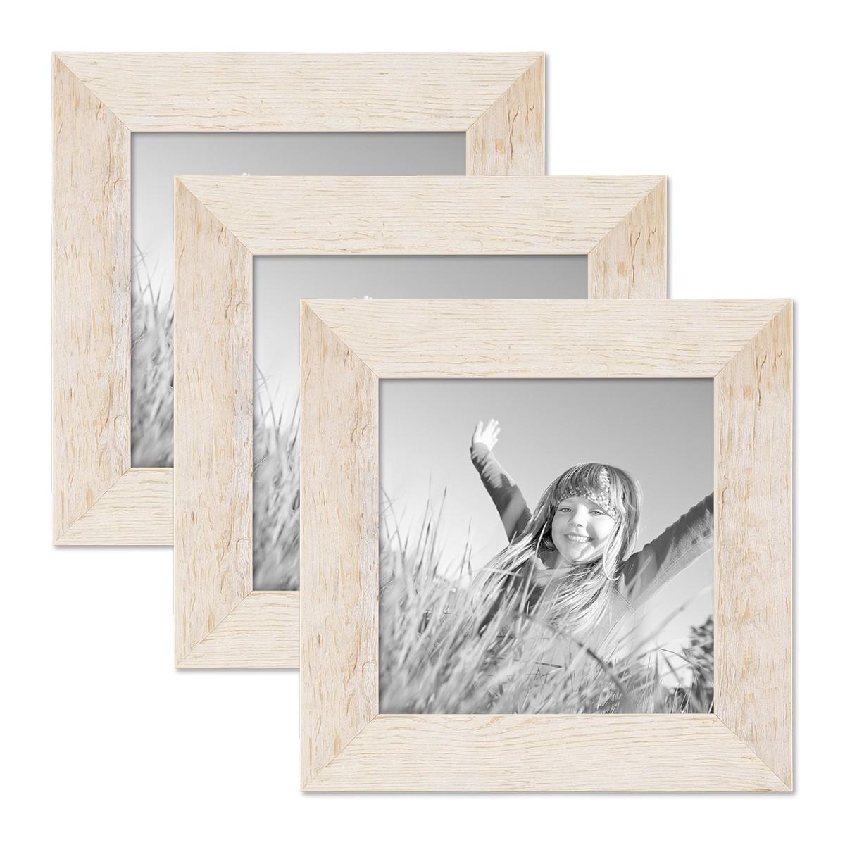 3er bilderrahmen set 15x15 cm strandhaus rustikal weiss massivholz mit glasscheibe inkl zubeh r. Black Bedroom Furniture Sets. Home Design Ideas
