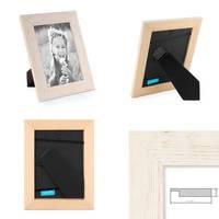 3er Bilderrahmen-Set 18x24 cm Strandhaus Rustikal Weiss Massivholz mit Glasscheibe inkl. Zubehör / Fotorahmen  – Bild 3