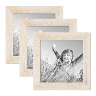 3er Bilderrahmen-Set 20x20 cm Strandhaus Rustikal Weiss Massivholz mit Glasscheibe inkl. Zubehör / Fotorahmen