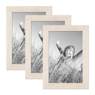 3er Bilderrahmen-Set 21x30 cm / DIN A4 Strandhaus Rustikal Weiss Massivholz mit Glasscheibe inkl. Zubehör / Fotorahmen