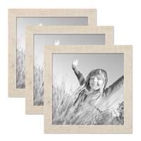 3er Bilderrahmen-Set 30x30 cm Strandhaus Rustikal Weiss Massivholz mit Glasscheibe inkl. Zubehör / Fotorahmen  – Bild 1