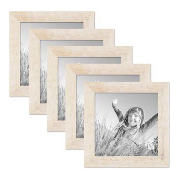5er Bilderrahmen-Set 20x20 cm Strandhaus Rustikal Weiss Massivholz mit Glasscheibe inkl. Zubehör / Fotorahmen