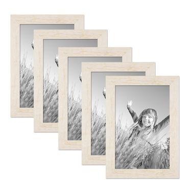 5er Bilderrahmen-Set 21x30 cm / DIN A4 Strandhaus Rustikal Weiss Massivholz mit Glasscheibe inkl. Zubehör / Fotorahmen