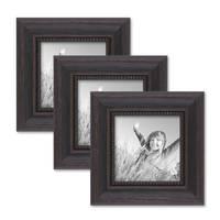 3er Set Bilderrahmen 10x10 cm Shabby-Chic Landhaus-Stil Dunkelbraun Massivholz mit Glasscheibe und Zubehör / Fotorahmen