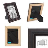 3er Set Bilderrahmen 10x10 cm Shabby-Chic Landhaus-Stil Dunkelbraun Massivholz mit Glasscheibe und Zubehör / Fotorahmen  – Bild 2