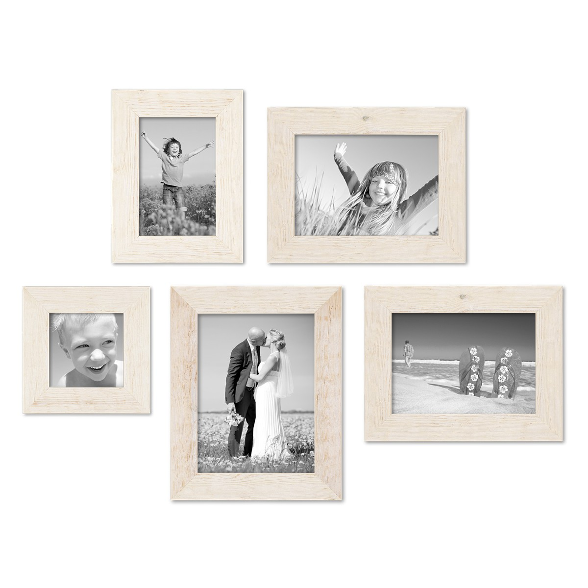 5er Bilderrahmen-Set 10x10, 10x15, 13x18 und 15x20 cm Strandhaus ...