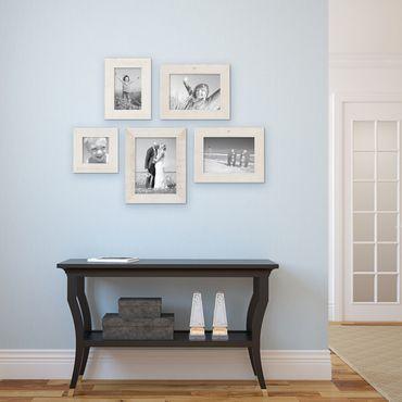 5er Bilderrahmen-Set 10x10, 10x15, 13x18 und 15x20 cm Strandhaus Rustikal Weiss Massivholz mit Glasscheibe inkl. Zubehör / Fotorahmen