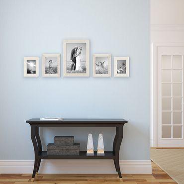 5er Set Bilderrahmen 10x15, 15x20 und 20x30 cm Strandhaus Rustikal Weiss Massivholz mit Glasscheibe inkl. Zubehör / Fotorahmen