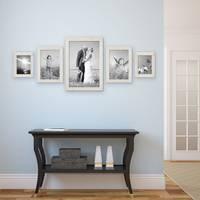 5er Set Bilderrahmen 15x20, 20x30 und 30x45 cm Strandhaus Rustikal Weiss Massivholz mit Glasscheibe inkl. Zubehör / Fotorahmen  – Bild 6