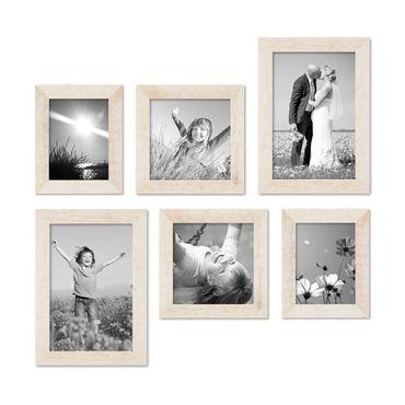6er Bilderrahmen-Set 15x20 20x20 und 20x30 cm Strandhaus Rustikal Weiss Massivholz mit Glasscheibe inkl. Zubehör / Fotorahmen