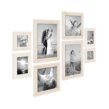 8er-Bilderrahmen-Set Strandhaus Rustikal Weiss Massivholz je 2 mal 10x10 10x15 20x20 und 20x30 cm inkl. Zubehör zur Gestaltung einer Bilderwand oder Fotowand / Fotorahmen
