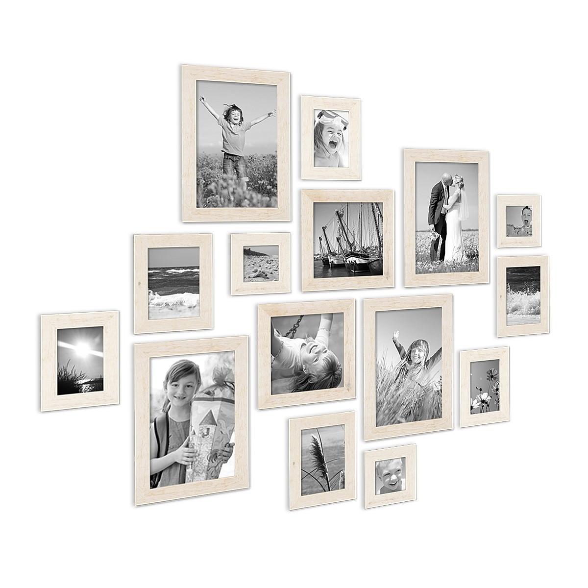 15er Bilderrahmen-Set Strandhaus Rustikal Weiss Massivholz 10x15 bis ...
