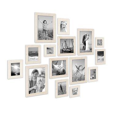 15er Bilderrahmen-Set Strandhaus Rustikal Weiss Massivholz 10x15 bis 20x30 cm inklusive Zubehör zur Gestaltung einer Collage / Bildergalerie