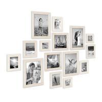 15er Bilderrahmen-Set Strandhaus Rustikal Weiss Massivholz 10x15 bis 20x30 cm inklusive Zubehör zur Gestaltung einer Collage / Bildergalerie – Bild 1