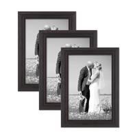 3er Set Bilderrahmen 20x30 cm Shabby-Chic Landhaus-Stil Dunkelbraun Massivholz mit Glasscheibe und Zubehör / Fotorahmen  – Bild 1