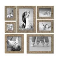7er Bilderrahmen-Set 10x10 10x15 13x18 20x20 und 20x30 cm Strandhaus Rustikal Eiche-Optik Natur Massivholz mit Glasscheibe inkl. Zubehör / Fotorahmen