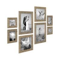 8er-Bilderrahmen-Set Strandhaus Rustikal Eiche-Optik Natur Massivholz je 2 mal 10x10 10x15 20x20 und 20x30 cm inkl. Zubehör zur Gestaltung einer Bilderwand oder Fotowand / Fotorahmen